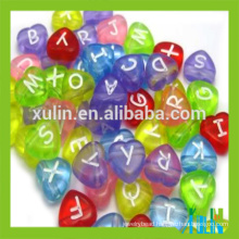 Fashion charm alphabet letter plastic heart beads 5*7mm