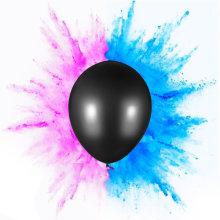 Le sexe révèle le ballon avec des confettis ou de la poudre