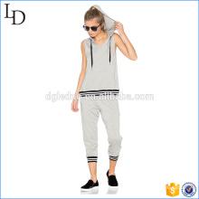Hoodies do músculo Vsrsity senhoras ginásio esportes desgaste hoodies e calças conjuntos