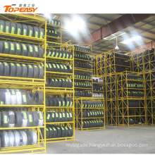 durable foldable steel tyre rack for industrial storage tyre stacking rack