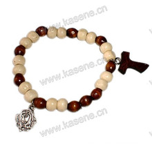 Elastic Wood Beads Religious Bracelet with Alloy Rose Medal