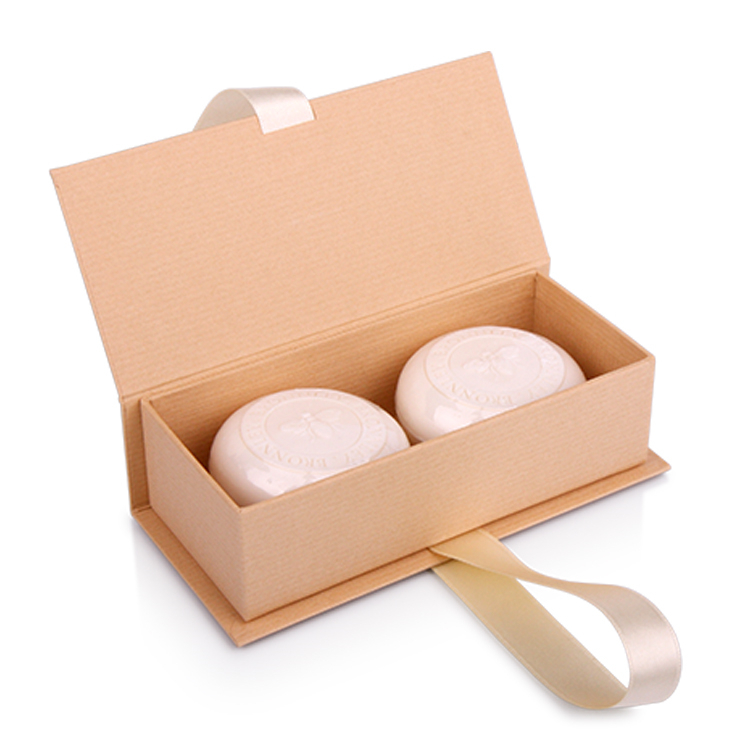 Square Cardboard Luxury Soap Gift Box With Ribbon