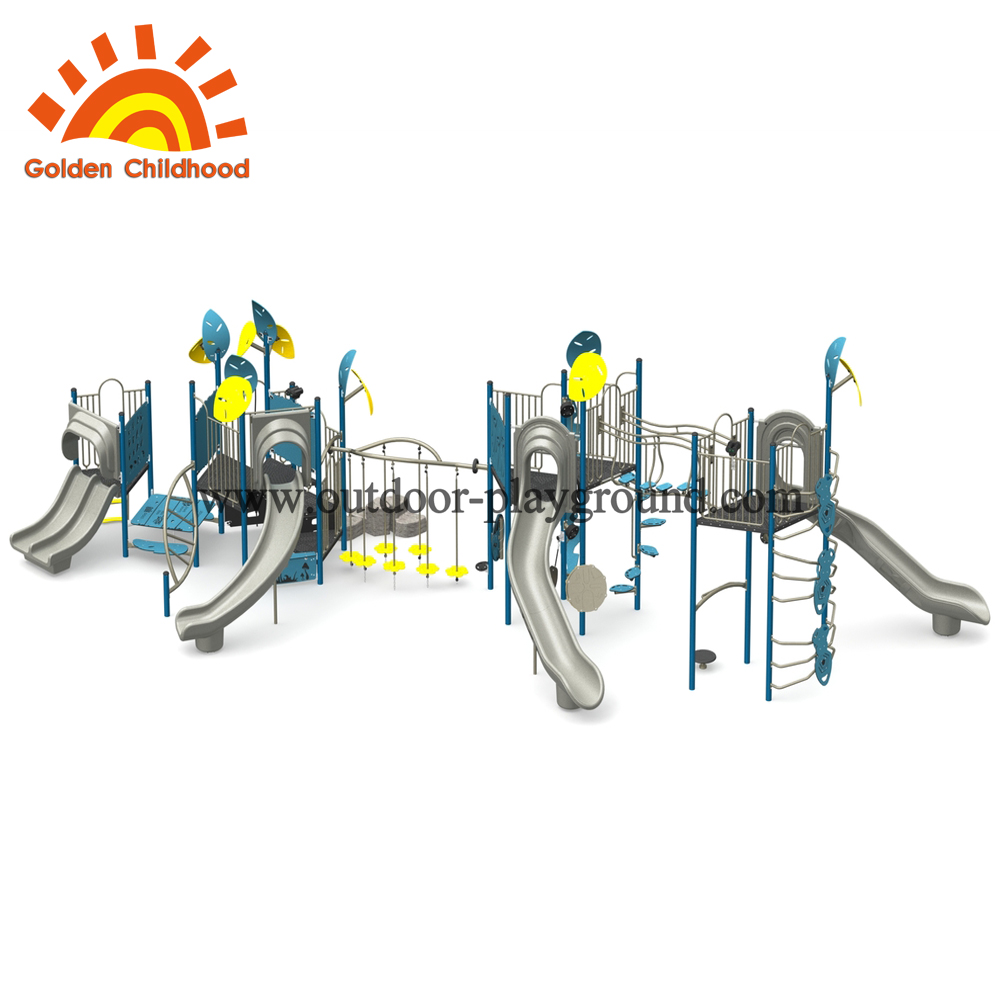 Bule And Yellow Slide Combination Outdoor Playground Equipment For Sale