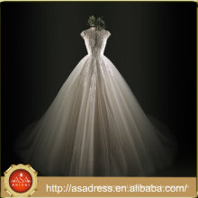 ASWY01 Short Sleeve Real Sample Luxury Crystal Ball Gown Wedding Gowns 2017 Bridal