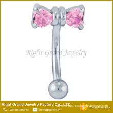 Cirúrgico aço duplo coração rosa Zircon Prong configuração Bowknot sobrancelha Piercing anel