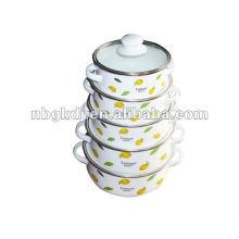 vajilla de esmalte con tapa de esmalte y diseño fashional