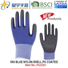 18g Blue Nylon Shell PU Coated Gloves (PU3101) with CE, En388, En420, Work Gloves
