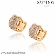 91242 Xuping nuevo estilo al por mayor oro pequeño pendiente redondo con muchos zircones