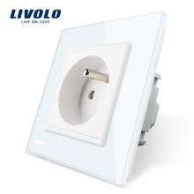 Livraison Gratuite Livolo Français Standard Panneau De Verre En Cristal 220 ~ 250 V 16A Interrupteur De Puissance Au Mur