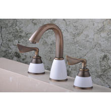 "Q30233A Antique Enamel Three Holes 8"" Basin Faucet"