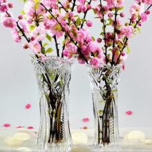 Оптовая дешевая высокая прозрачная хрустальная ваза для цветов для домашнего украшения