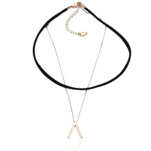 43613 Xuping fashion gold jewelry simple design copper and leather layer chocker necklace