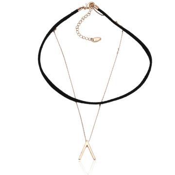 43613 Xuping moda jóias de ouro design simples de cobre e camada de couro chocker colar