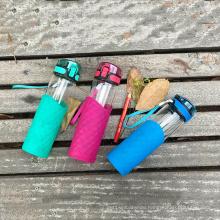 Outdoor sport heat resistant glass drink water bottle with lid