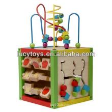 5 in 1 Intelligent Playing Cube Hölzernes pädagogisches Spielzeug für Kinder 18 Monate