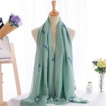 Mulheres moda libélula bordada lenço de algodão longo (yky1140)