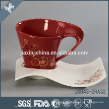 Color ceramic coffee cup set with gold flower decal, small mug set 12pcs