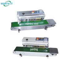 Hot automatic continuous aluminum foil plastic film bag pouch heat seal sealer sealing machine