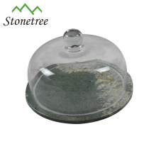 Hot Sale New White Marble Cake Cheese Board With Glass Dome