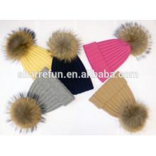 Benutzerdefinierte Winter Kaschmir Hut mit Pom Poms