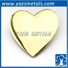 insignia de encargo del perno del corazón del chapado en oro / plata