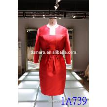 1A739 rojo satén formal vestido de longitud de la rodilla mujer trajes 2016 nuevo diseño