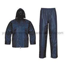 Adult Polyester Polyester / PVC wasserdicht Regen Anzug Rainsuit Regenmantel Workwear Regenbekleidung