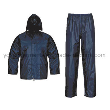 Adult′s Polyester Polyester/PVC Waterproof Rain Suit Rainsuit Raincoat Workwear Rainwear