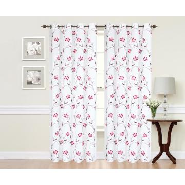 Tecido para cortina bordado de poliéster puro com padrão floral