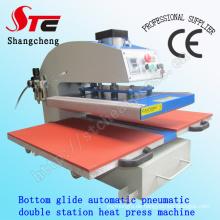 Unten gleiten automatische pneumatische doppelte Station Hitze Presse Maschine 40 * 60cm T-Shirt Druck Maschine pneumatische doppelte Station Wärmeübertragung Maschine