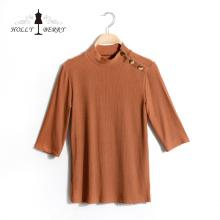 Blusas para mujer Diferentes modelos de blusa transpirable de manga tres cuartos con rayas verticales para mujer