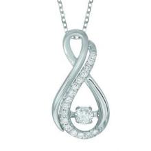18k Weißgold Infinity Tanzen Diamant Anhänger Schmuck