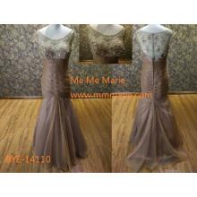 Elegante Illusion zurück Partykleid Big Arsch in Abendkleid Fotos mit Perlen Spitze Party Kleid BYE-14110