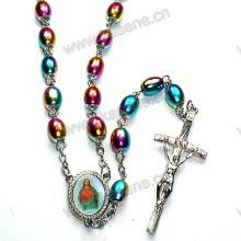 Ожерелье из розового золота с крестом, стеклянный розарий