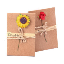 Handmade Greeting Card, Dried Flowers Thank You Card, Birthday Party Invitation Card