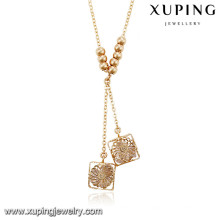 43143 Xuping new designed Gold plated fancy long chain necklace for women