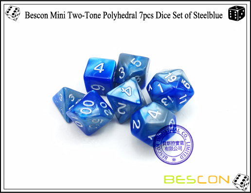 Bescon Mini Two-Tone Polyhedral 7pcs Dice Set of Steelblue-5