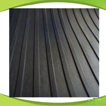 Black Non-Slip SBR Rubber Sheet with Wide Ribbed Pattern
