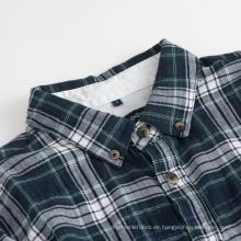 Herren Langarm Shirt Kragen Check Cotton Shirts