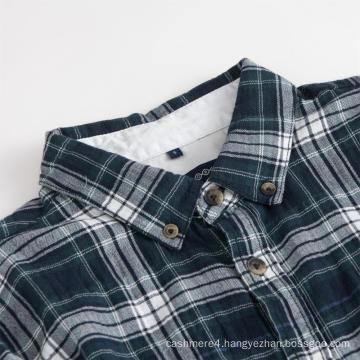 Men's Long Sleeve Shirt Collar Check Cotton Shirts