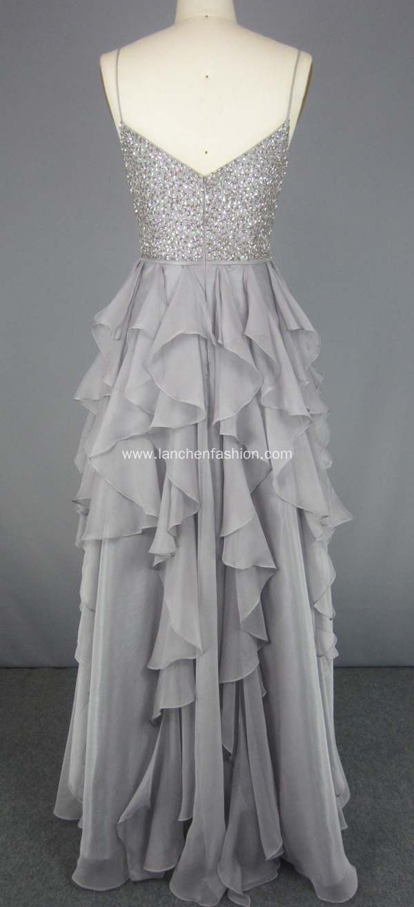Crystal Beading Long Prom Dress Evening Gown