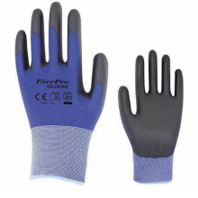 N9696 18 Gauge Nylon Shell PU Coated Work Gloves With Blue Athletic Grade