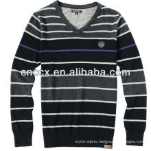 13STC5113 striped color mens v neck sweater