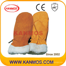 Los mejores guantes de trabajo de seguridad industrial de mano de invierno de cuero de vaca (12309)