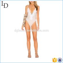 Bañador de baño de bikini sexy de una pieza de cuello en V profundo para damas