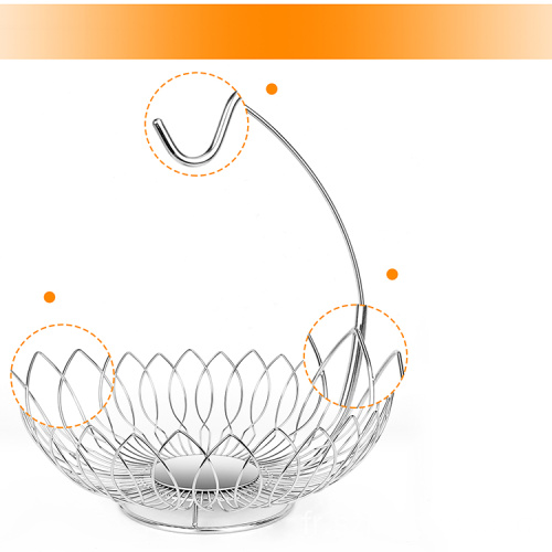 Chinese Modern Fashion Hanging Living Room Fruit Vegetable Basket Stainless Steel Wire Fruit Basket Banana Stand