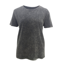 100 % Cotton Hip Hop Simple Crew Neck T-Shirt For Women With Washed Out Holes Appearance