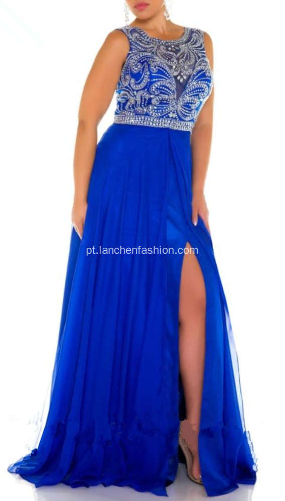 Venda Por Atacado Beading Applique Chiffon Prom Party Dresses