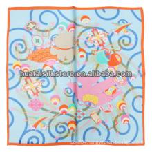 2014 New Hand Printed Small Silk Scarf Ladies Silk Scarf