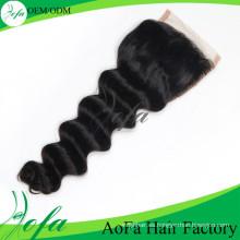 Cierre brasileño del cordón del pelo humano de la Virgen 7A de calidad superior